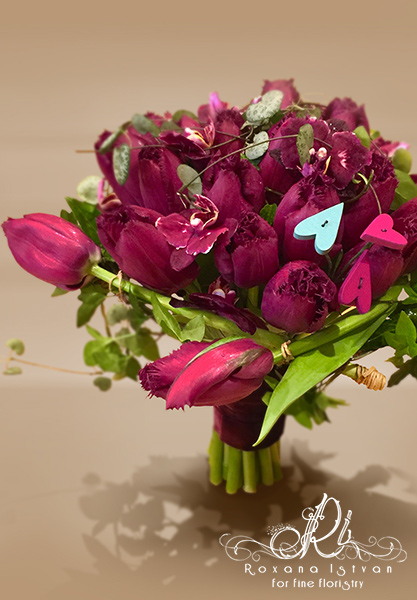 purple tulips and orchids flowers romantic floristry bouquet hearts velvet texture passion