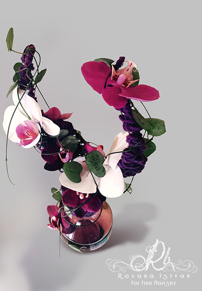 unique floral design innovative structure gift vase orchids white purple flowers