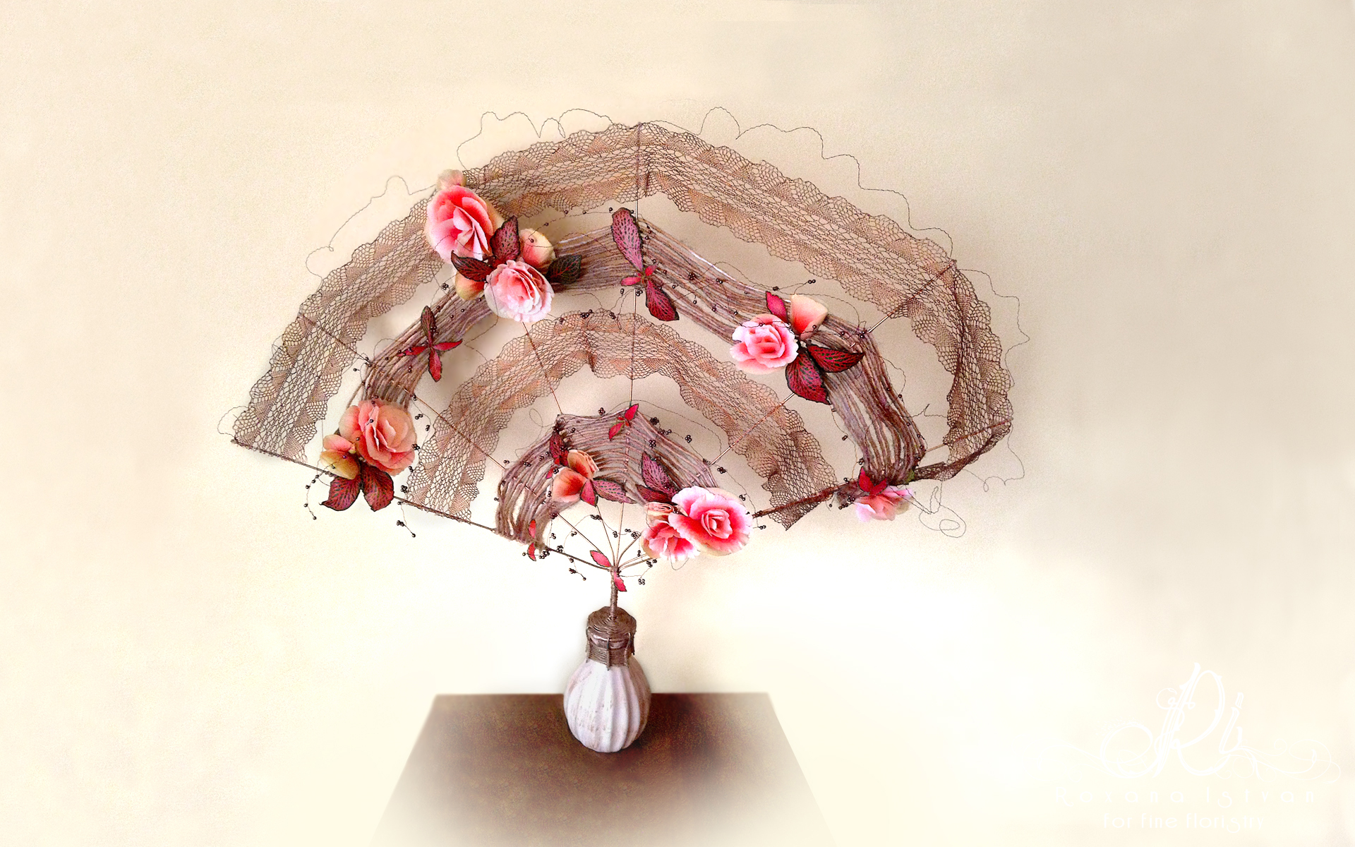 unique floral design gift wire structure cooper lace fan shape pink flowers